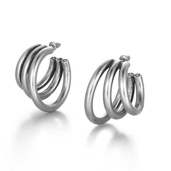 Modern Overlapped Circle Earrings