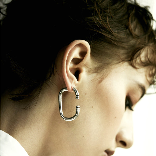 C Silver Earrings