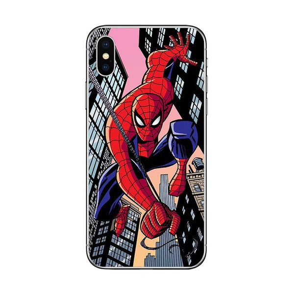 Coque de téléphone ciciber Marvel Super héros Spiderman pour Apple iPhone 7 8 6 6s Plus X XR XS MAX