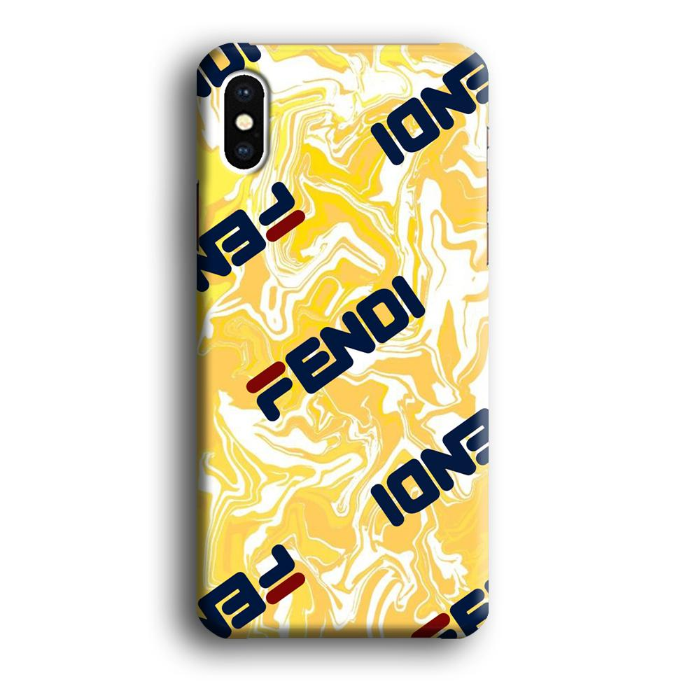 Fendi Yellow Marble coque 3D iPhone Xs
