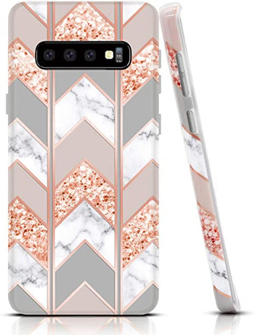 Geometric Triangles in blush and rose gold Coque Samsung S10