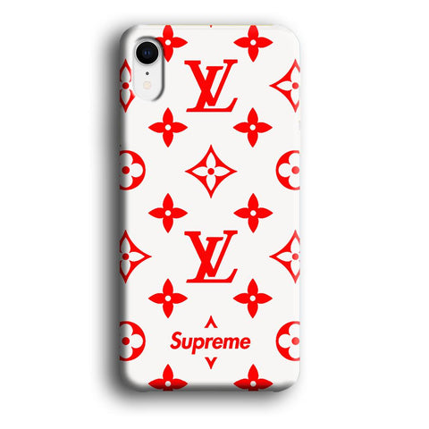Louis Vuitton x Supreme Red White Milk coque 3D iPhone XR