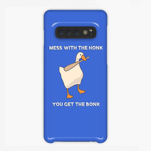 Coque Samsung galaxy S5 S6 S7 S8 S9 S10 S10E Edge Plus Mess With The Honk You Get The Bonk Goose Game Blue