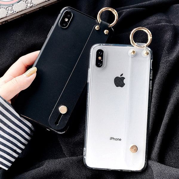 Apple 6splus Hand Case Iphone6plus Transparent Soft Shell 5 Wrist Belt Paragraph 4s Female Paragraph