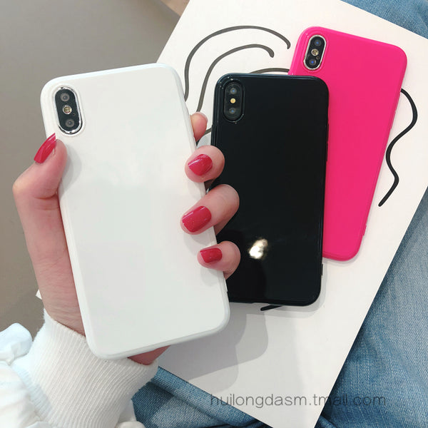 Ins Bright Noodles Soft Shell Black Silica Gel Mei Gules Iphone6s Hand Case Xs Max Shell White 8