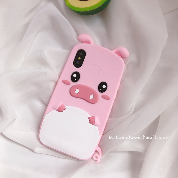 Three-dimensional Lie Prone Qq Pink Pig Lovely Cartoon Apple Xs Max Hand Case Xr Silica Gel 7plus/8