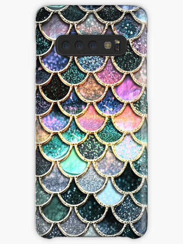 Teal Gold Glitter and Blue Sparkle Faux Glitter Mermaid Scales Coque Samsung S10