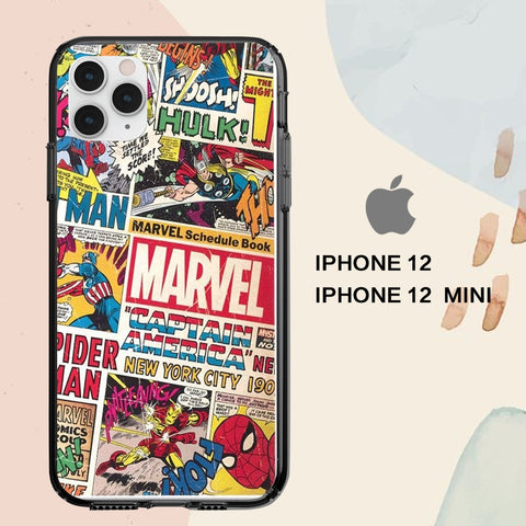coque iPhone 12 mini pro max case M2751 marvel wallpaper 42oT4