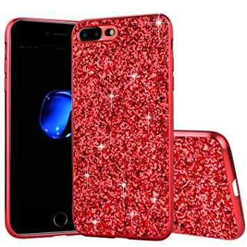 coque iphone 8 plus rouge paillette