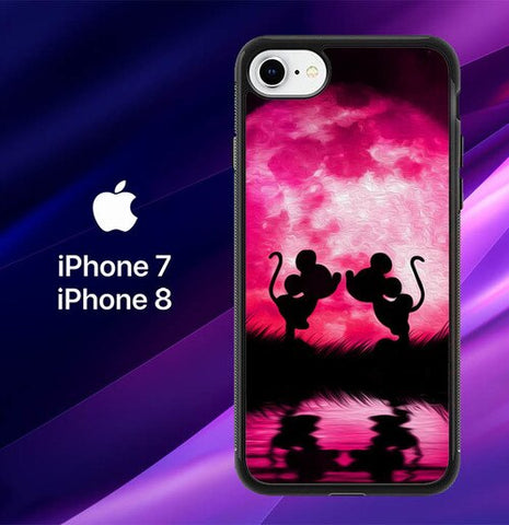 Mickey Minnie Mouse Silhouette W4418  coque iPhone 7 , iPhone 8
