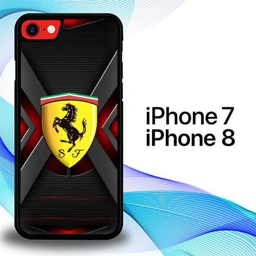 Ferrari Logo In Steel P1560 coque iPhone 7 , iPhone 8