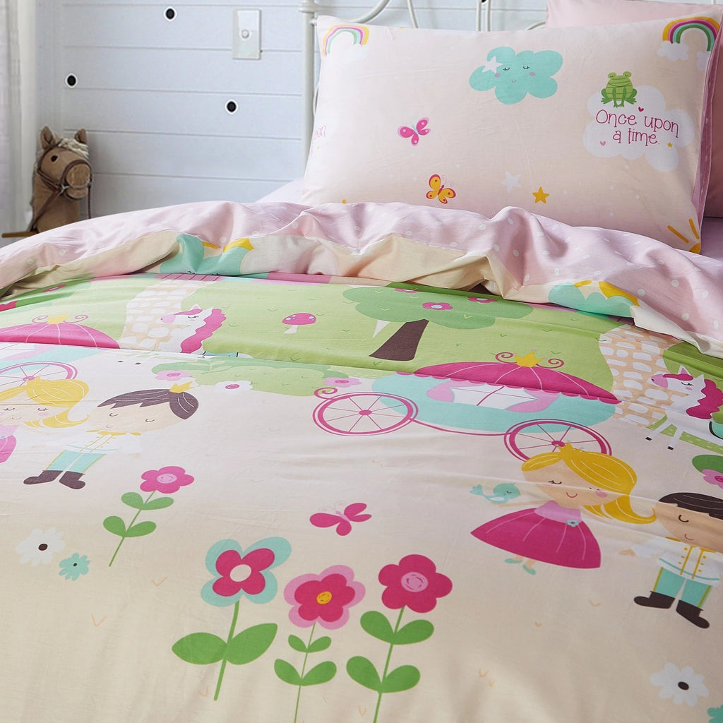 KNIGHT & PRINCESS - HOORAYS QUILT COVER SET 200TC 100% COTTON