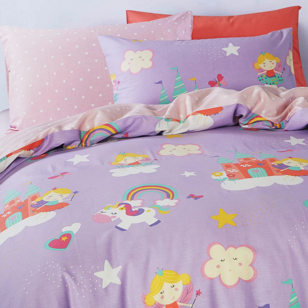 FAIRIES & CASTLE - HOORAYS FITTED SHEET SET 200TC 100% COTTON