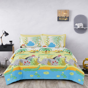 ANIMAL JUNGLE - HOORAYS COVERLET SET 200TC 100% COTTON