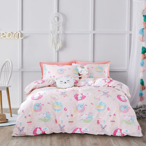 CUTE KITIES - HOORAYS FITTED SHEET SET 200TC 100% COTTON