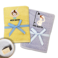 HIS & HER SHOWER TIME - HIS & HER SHOWER TIME 2PCS EMBROIDERY BATH TOWEL SET