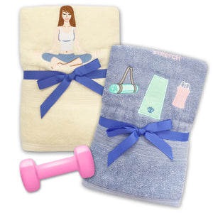 STRETCH & RELAX - STRETCH & RELAX 2PCS EMBROIDERY BATH TOWEL SET