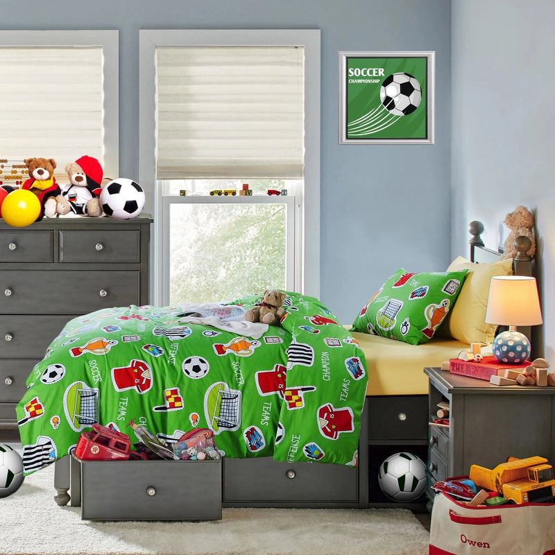 SOCCER - HOORAYS QUILT COVER SET 200TC 100% COTTON