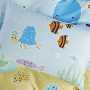 UNDERWATER FUN - HOORAYS FITTED SHEET SET 200TC 100% COTTON