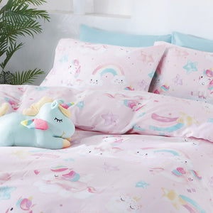 UNICORN PARTY - HOORAYS FITTED SHEET SET 200TC 100% COTTON