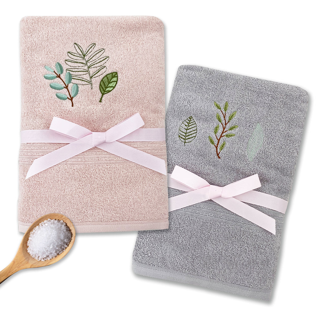 VERDURE - VERDURE 2PCS EMBROIDERY BATH TOWEL SET