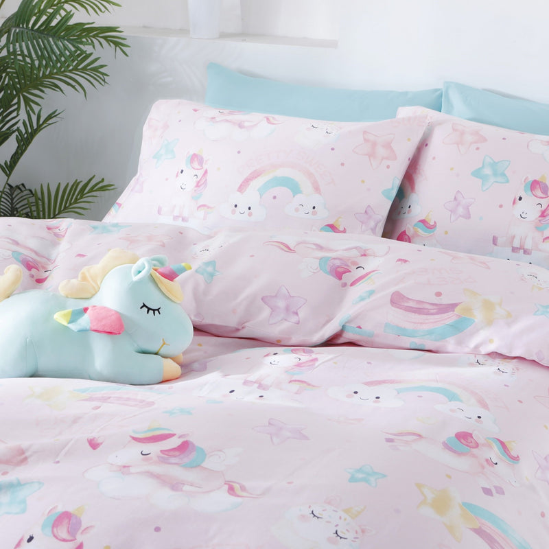 UNICORN PARTY - HOORAYS QUILT COVER SET 200TC 100% COTTON