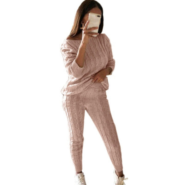 CALOFE Autumn New Cotton Tracksuit Women 2 Piece Set Sweater Top+Pants Knitted Suit O-Neck Knit Set Women Outwear 2 Piece Set