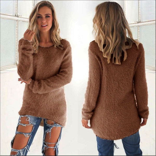 Pullovers 2019 Autumn Winter Women O-Neck Sweater Loose Knitted Ladies Sweater Female Plus Size Casual Solid Color Plush Sweater