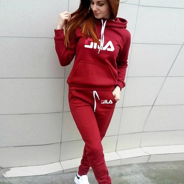 Autumn Winter Women Hoodie Pants Set Printed Tracksuit Pullover Sweatshirt Trousers Sportswear With Pockets Tracksuit Suits