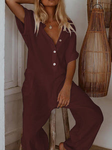 Summer 2019 Jumpsuit Women Rompers Short Sleeve Solid Casual Loose Womens Harem Jumpsuits Long Pants Cotton Linen Overalls S-5XL