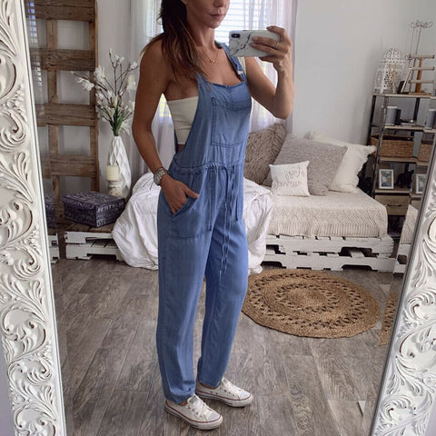 Autumn Women Denim Jumpsuits Casual Pockets Bib Pants Rompers Elegant Female Jeans One Piece Dungarees Loose Overalls Jumpsuit