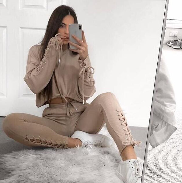 OMSJ 2018 New Autumn Winter Two Pieces Set Women Workout Long Sleeve Suit Cotton Women Tracksuit Crop Top And Pants Set Lady