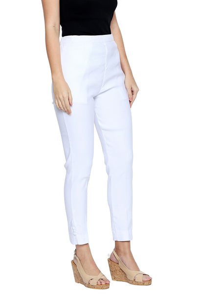 Ishin Cotton Lycra Stretchable White Solid Women's Cigarette Trousers