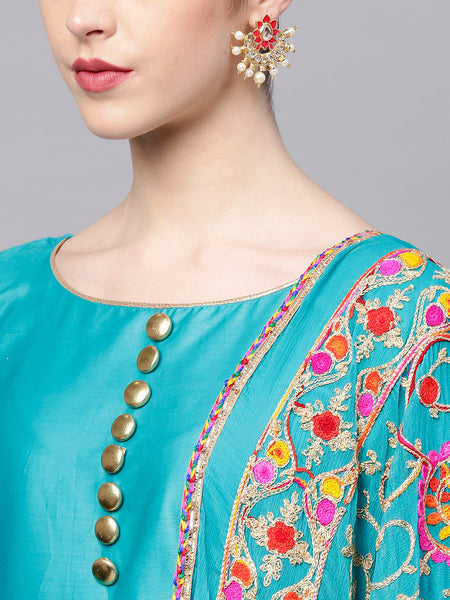 Ishin Women's Poly Cotton Blue Embroidered A-Line Kurta With Churidar & Dupatta