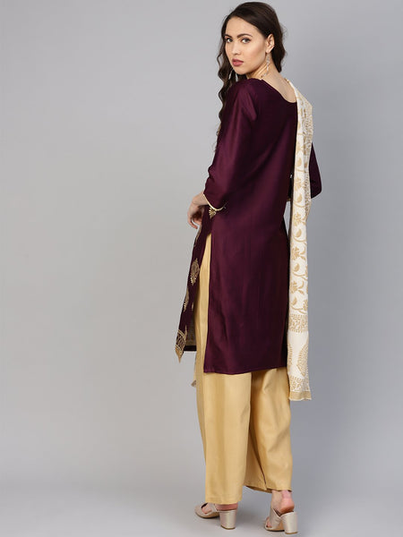 Ishin Women's Poly Silk Purple & Beige Embroidered A-Line Kurta Palazzo Dupatta Set