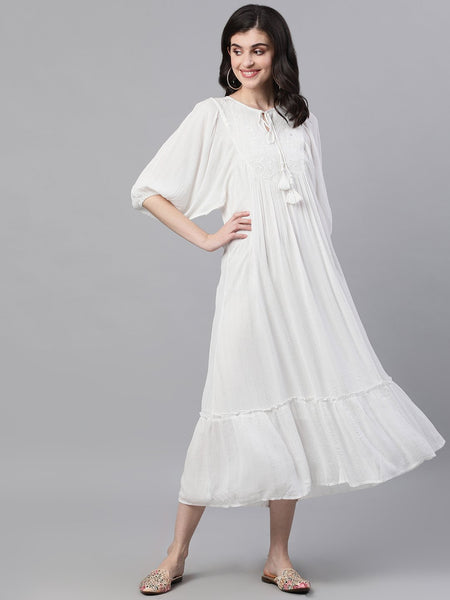 Ishin Women's Rayon White Silver Lurex Embroidered Ruffle Dress