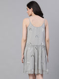 Ishin Women's Poly Georgette Grey Mirror Embellished A-Line Dress