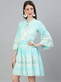 Ishin Women's Cotton Sea Green Schiffli Embroidered A-Line Dress