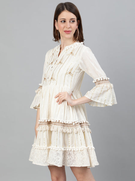 Ishin Women's Cotton Off White Lurex Embroidered A-Line Dress