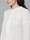 Ishin Women's Polyester White Solid With Lurex Top