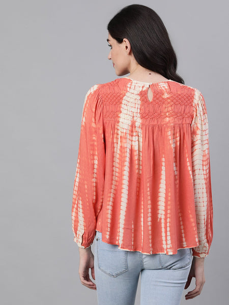 Ishin Women's Rayon Peach Tie & Dye Smoked Embroidered Top