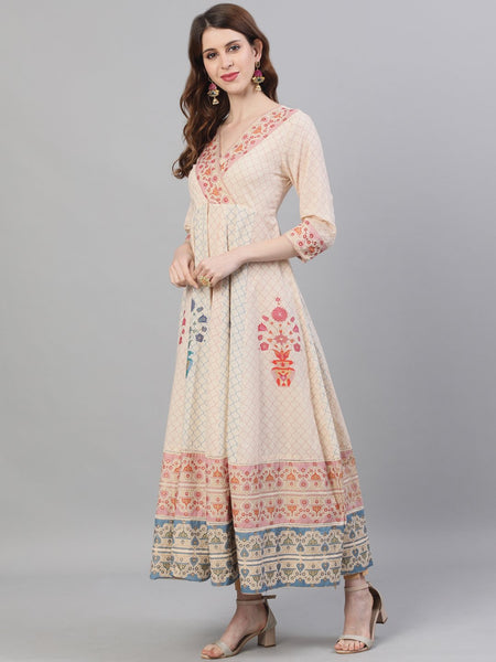 Ishin Women's Cotton Beige Foil Printed Anarkali Kurta With Dupatta