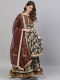 Ishin Women's Cotton Black & Brown Embroidered Peplum Kurta Sharara Dupatta Set