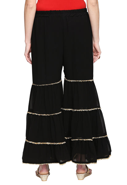 Ishin Women's Black Cotton Embellished Sharara Palazzo