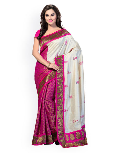 Ishin Art Silk White & Pink Ethnic Motifs Printed Women's Saree Including Blouse Piece