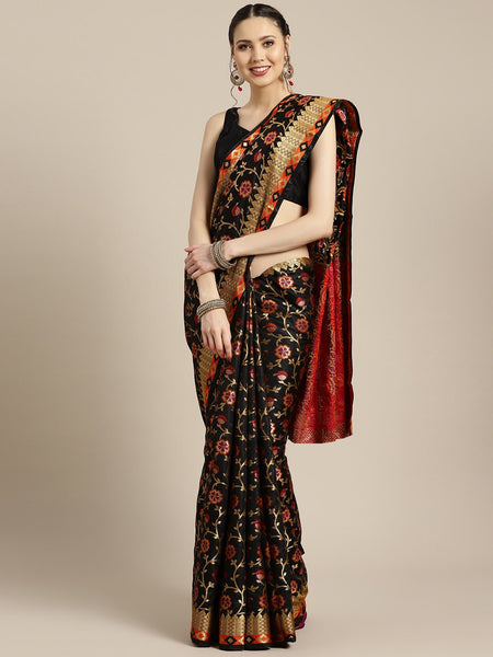 Ishin Poly Silk Black Woven Women's Saree
