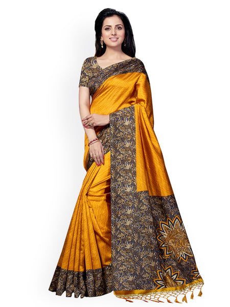 Ishin Poly Silk Mustard Yellow Printed Women's Saree/Sari With Tassels