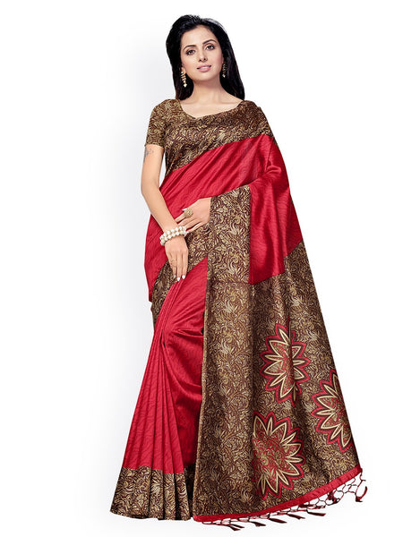 Ishin Poly Silk Red Printed Women's Saree/Sari With Tassels