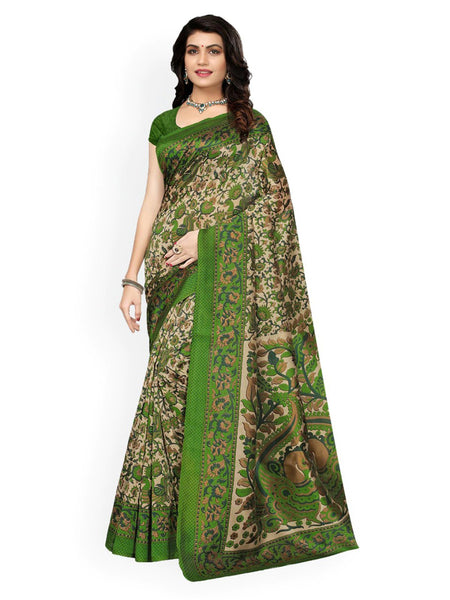 Ishin Poly Silk Green Printed Women's Saree/Sari
