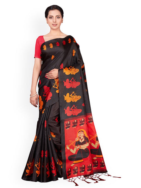 Ishin Poly Silk Black Printed Women's Saree With Tassels
